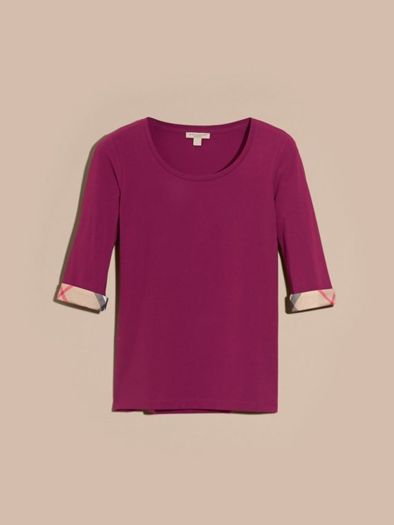Check Cuff Stretch-Cotton Top Magenta Pink - cell image 3