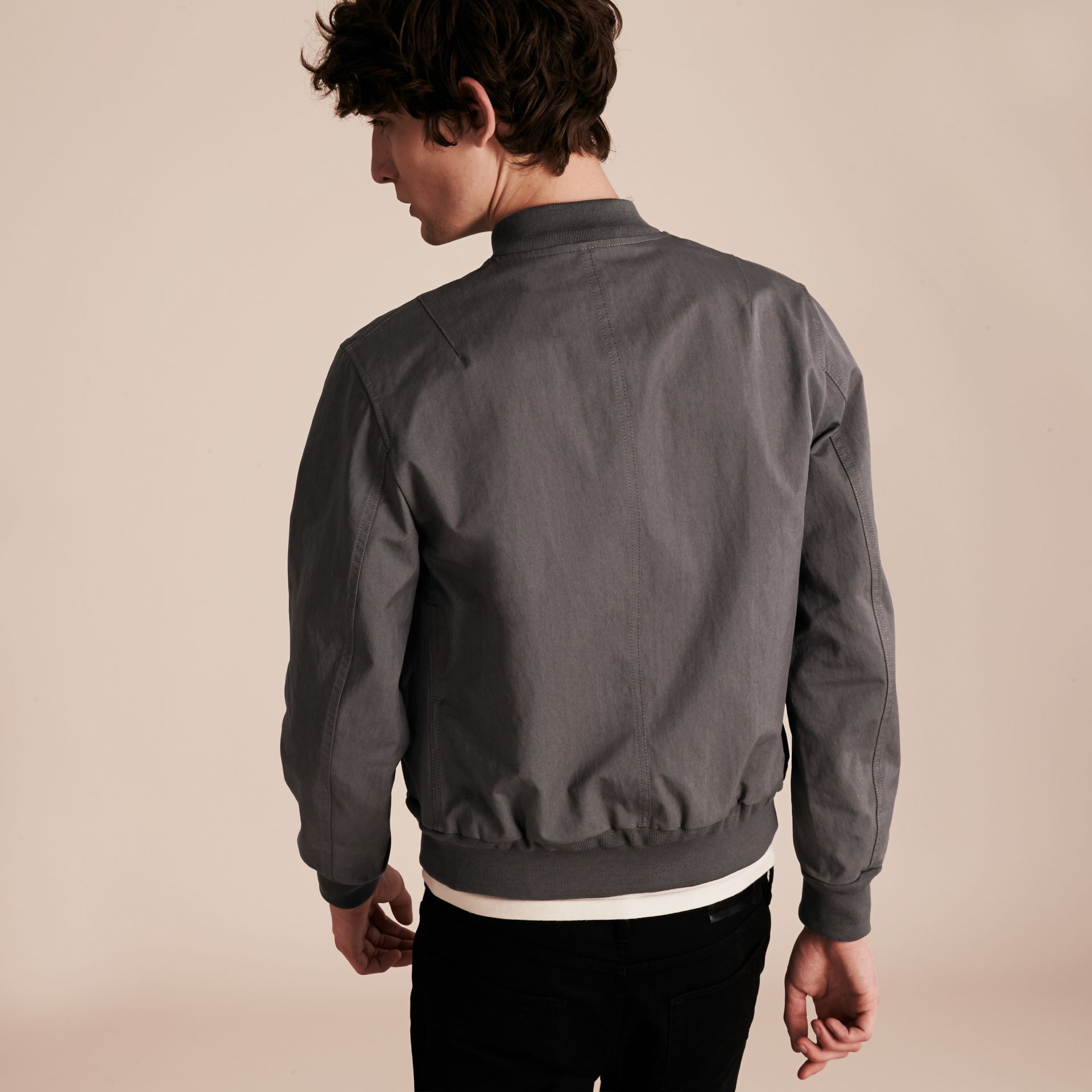 Airforce grey Matte Technical Cotton Bomber Jacket - gallery image 3