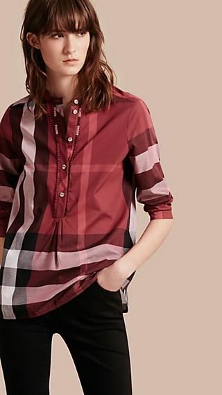 Chemise tunique en coton à motif check