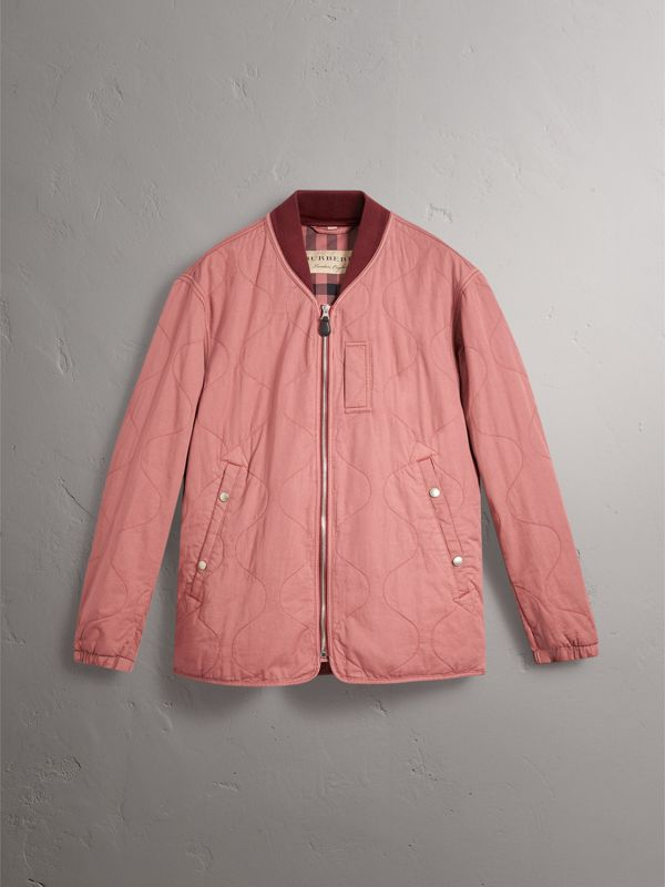 Lightweight Quilted Cotton Bomber Jacket in Rosewood - Men | Burberry - cell image 3