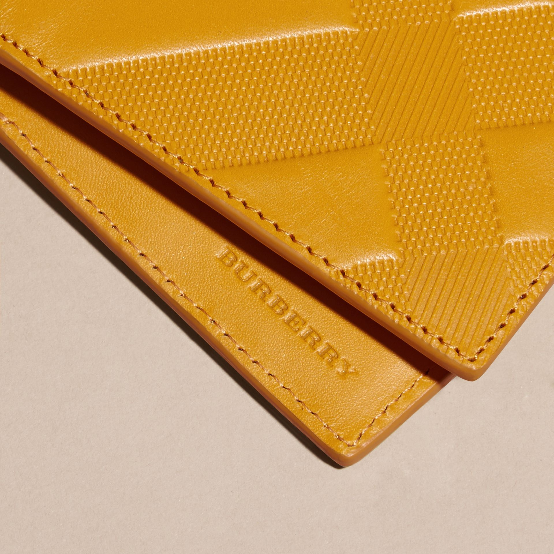 Amber yellow Check-embossed Leather Folding Wallet Amber Yellow - gallery image 2