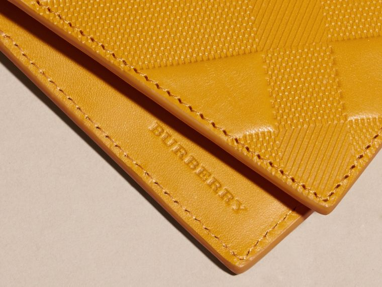 Amber yellow Check-embossed Leather Folding Wallet Amber Yellow - cell image 1
