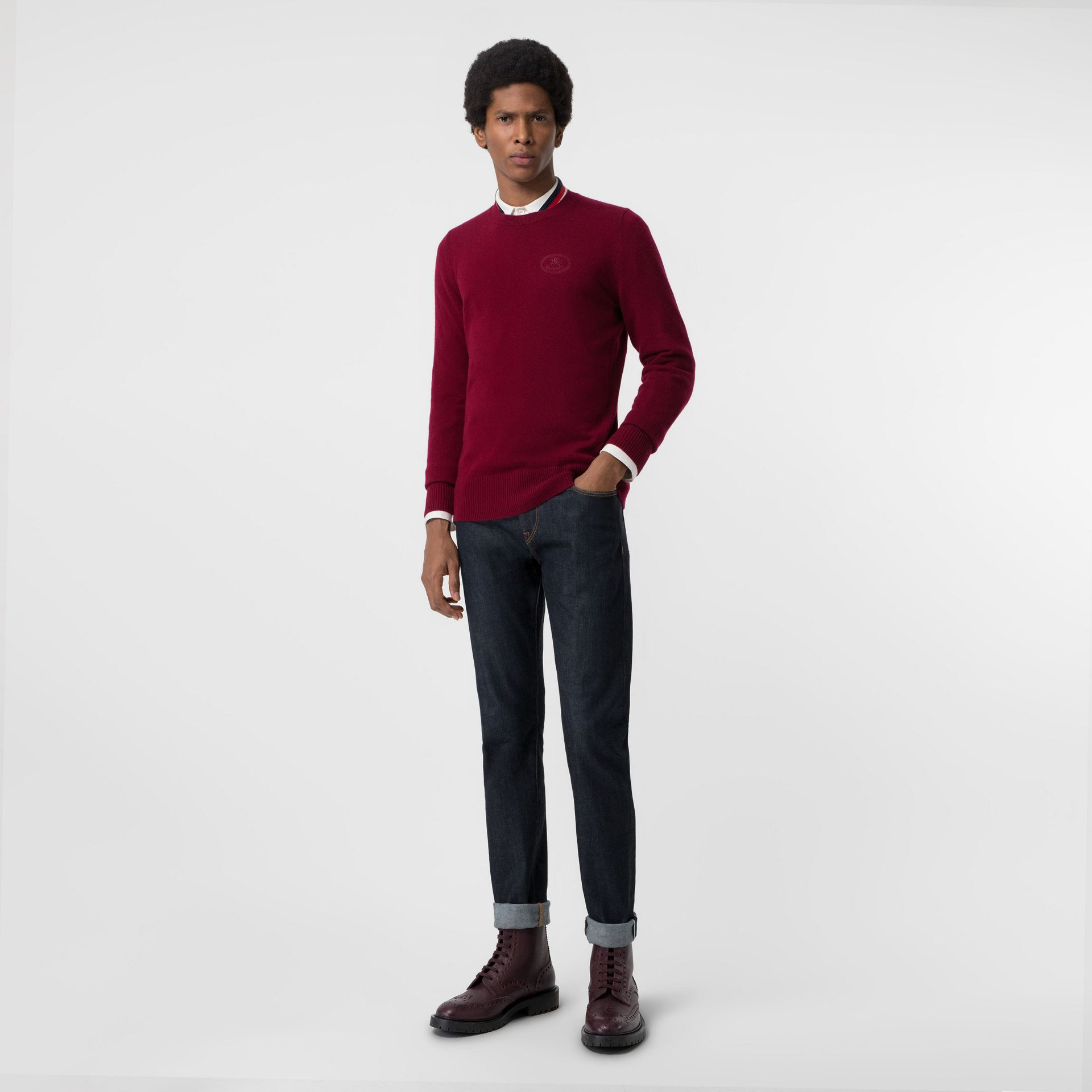 Embroidered Logo Cashmere Sweater in Claret - Men | Burberry Singapore - gallery image 0