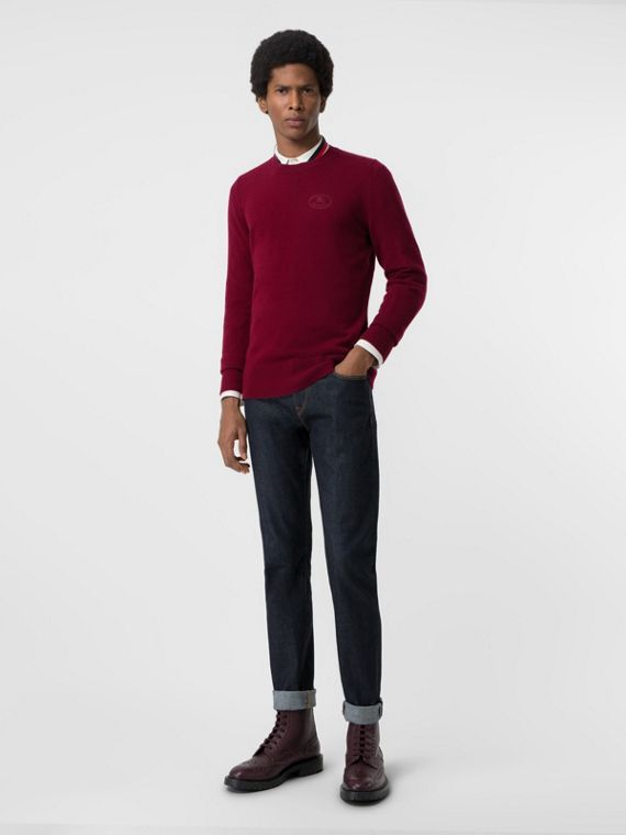 Embroidered Logo Cashmere Sweater in Claret