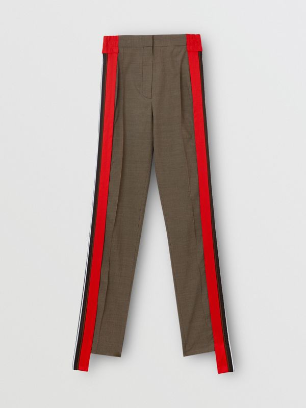 Stripe Detail Wool Cotton Tailored Trousers in Beige - Women | Burberry Singapore - cell image 3