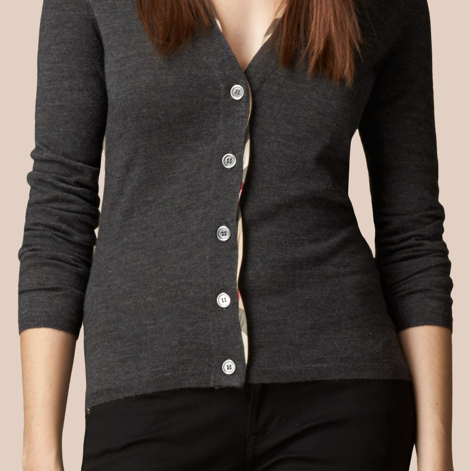 Dark grey melange Check Placket Wool Cardigan Dark Grey Melange - gallery image 2