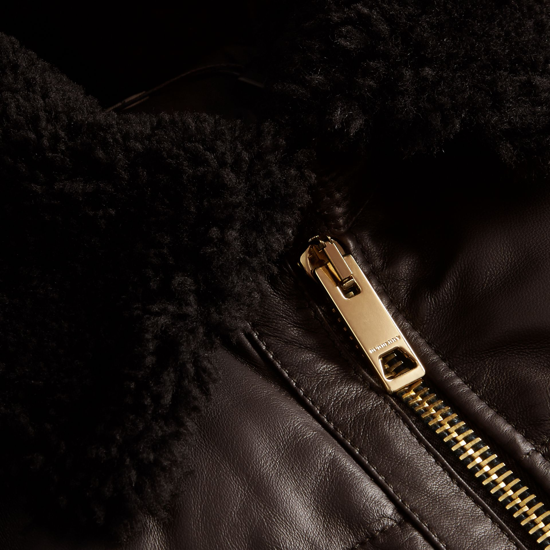 Chocolate brown Down-filled Lambskin Bomber Jacket with Shearling Collar - gallery image 2