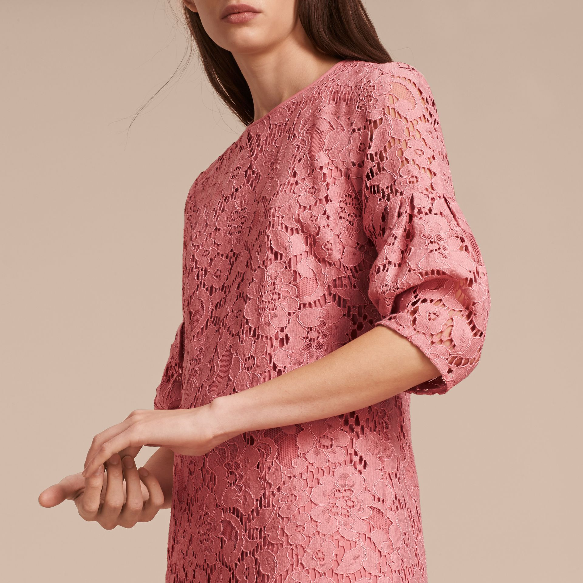 Puff-sleeved Floral Lace Shift Dress Antique Rose - gallery image 5