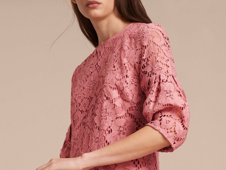 Puff-sleeved Floral Lace Shift Dress Antique Rose - cell image 4