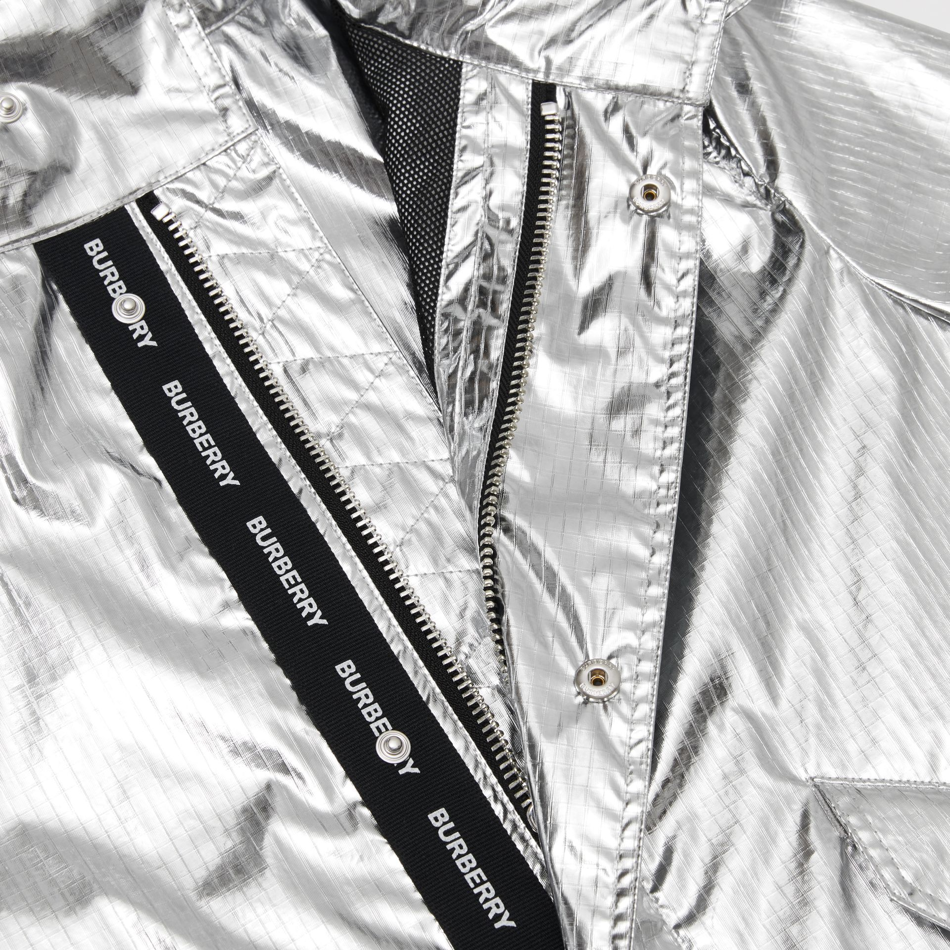 Detachable Hood Metallic Nylon Parka in Silver | Burberry - gallery image 1