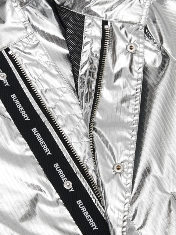 Detachable Hood Metallic Nylon Parka in Silver | Burberry - cell image 1