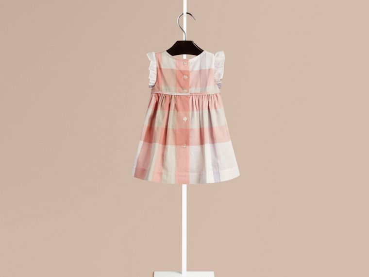 Light copper pink Flutter Sleeve Check Dress Light Copper Pink - cell image 1