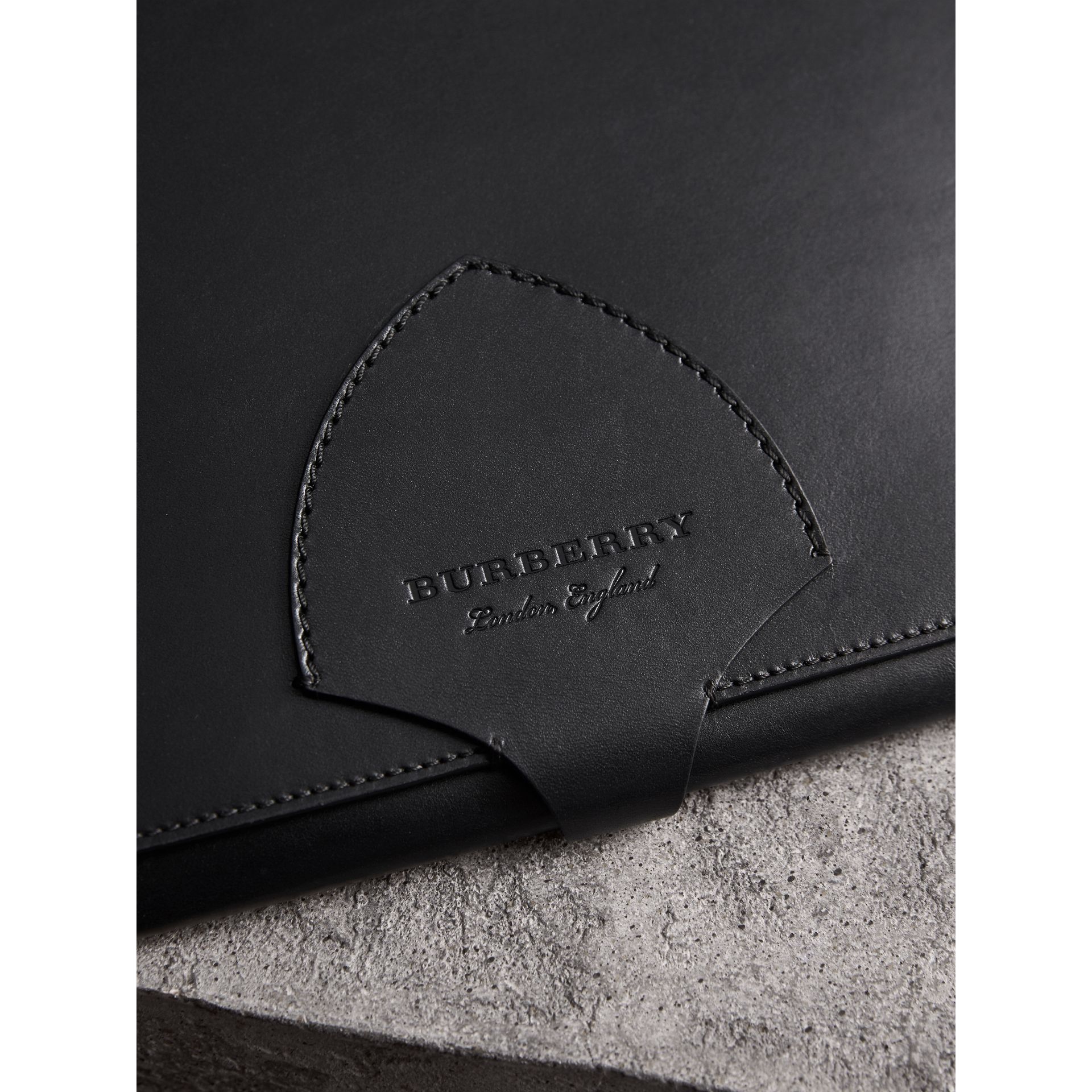 Equestrian Shield Leather A4 Document Case in Black | Burberry - gallery image 1