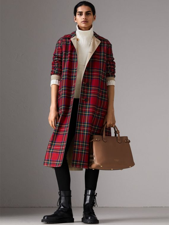 Sac The Banner medium en cuir et coton House check (Sable Foncé) - Femme | Burberry Canada - cell image 2