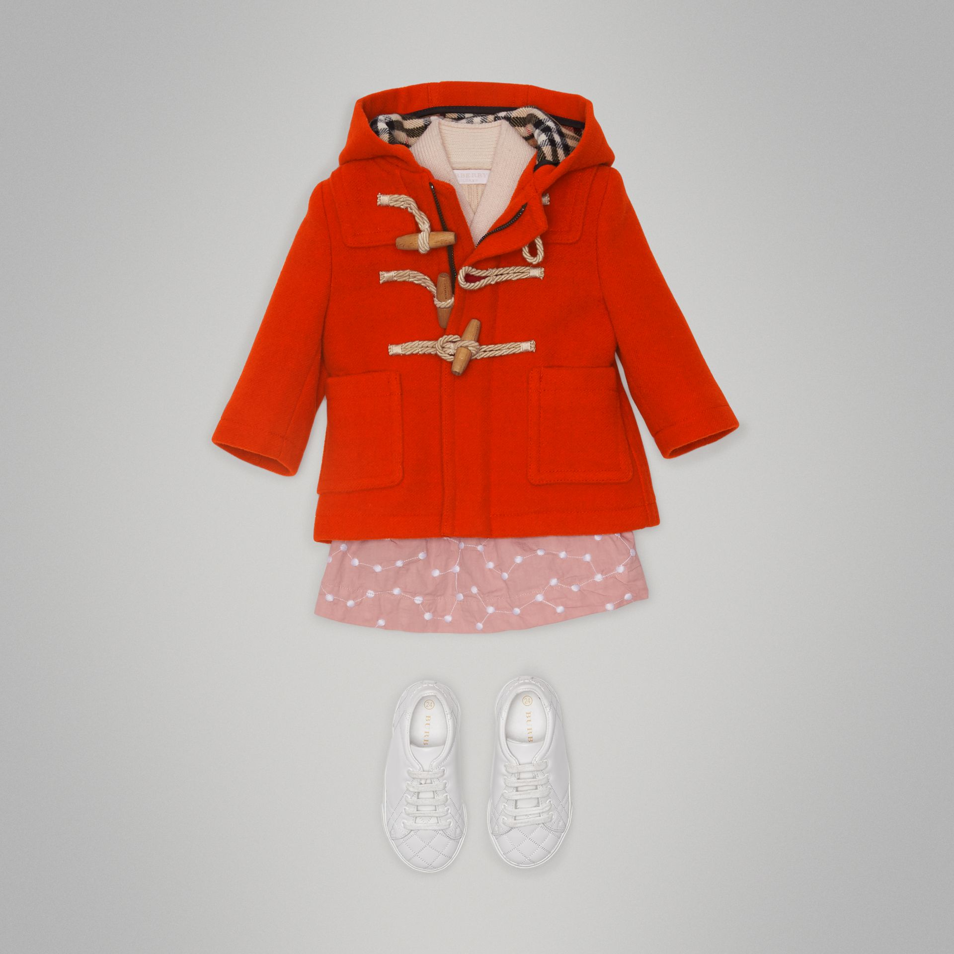 Boiled Wool Duffle Coat in Orange Red - Children | Burberry United States - gallery image 2