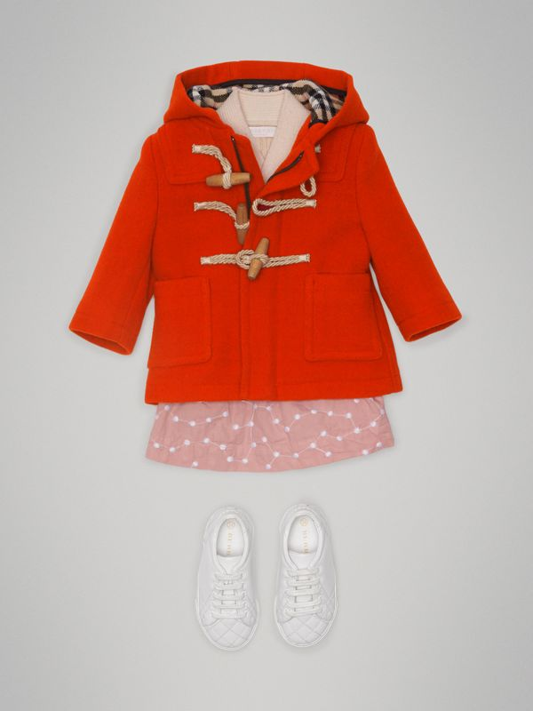 Boiled Wool Duffle Coat in Orange Red - Children | Burberry Australia - cell image 2