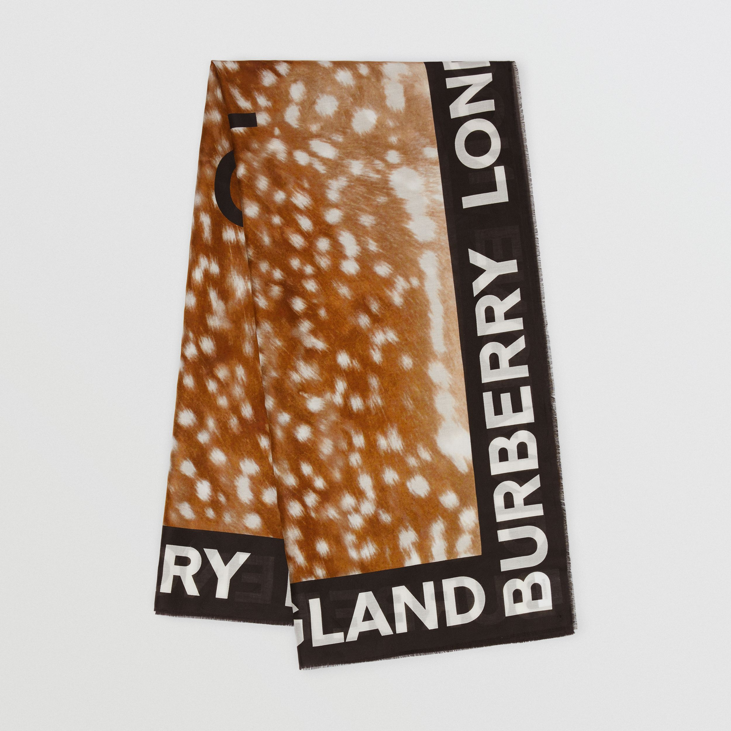 Slogan Deer Print Cotton Silk Large Square Scarf in Brown | Burberry - 1