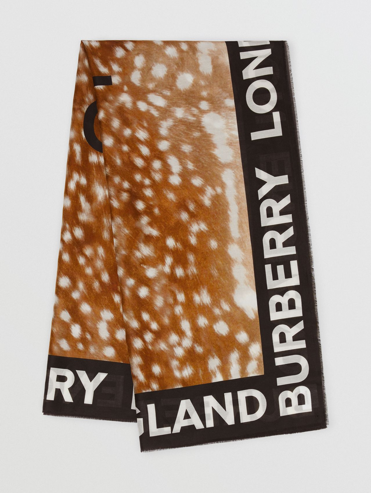 Slogan Deer Print Cotton Silk Large Square Scarf in Brown