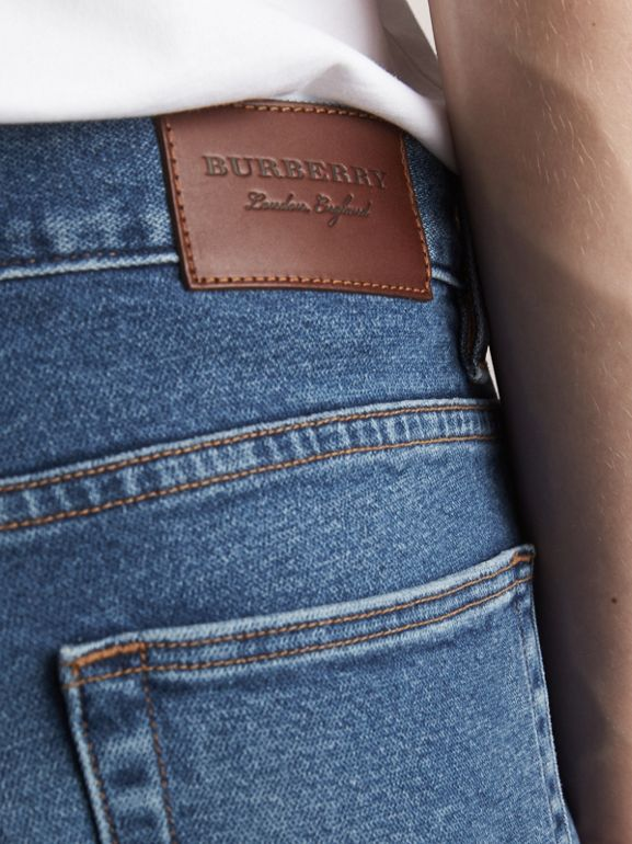 Straight Fit Stretch Japanese Denim Jeans in Mid Indigo - Men | Burberry - cell image 1