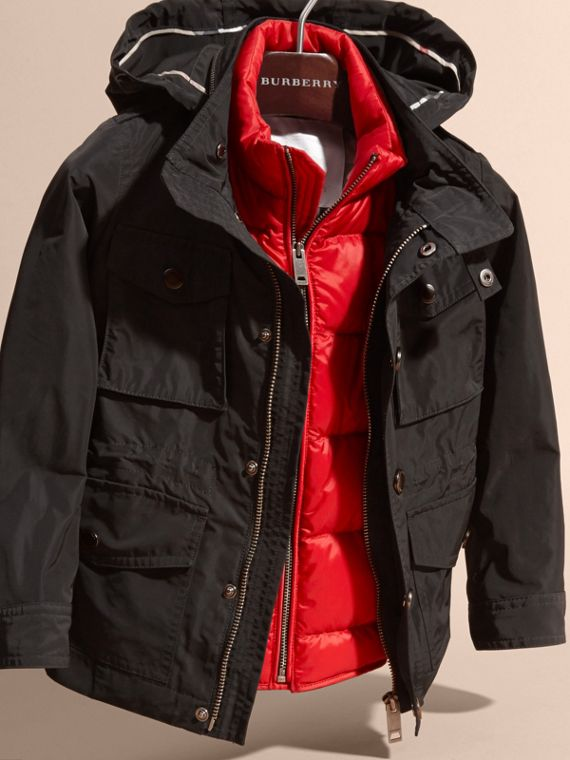 Black Showerproof Field Jacket with Detachable Down-filled Warmer - cell image 2