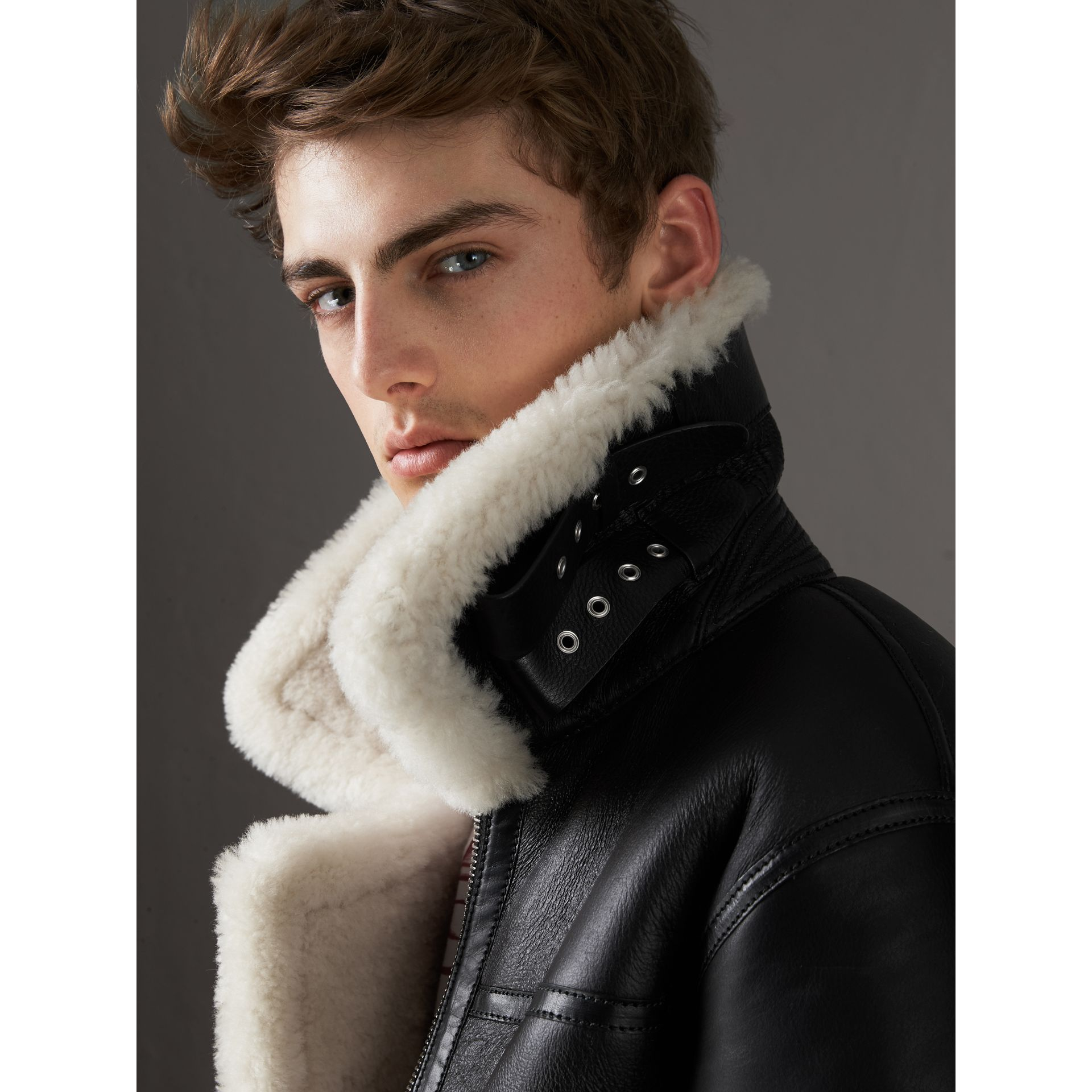 Shearling Aviator Jacket in Black - Men | Burberry Canada - gallery image 2
