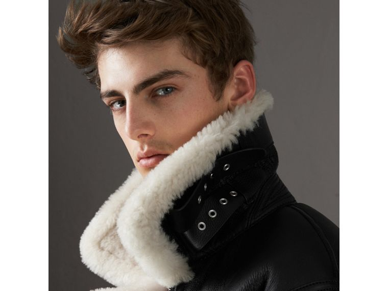 Shearling Aviator Jacket in Black - Men | Burberry - cell image 1