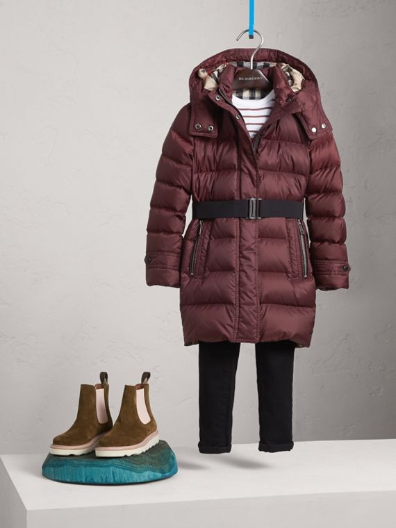 Detachable Hood Down-filled Coat in Dark Plum - Girl | Burberry - cell image 2