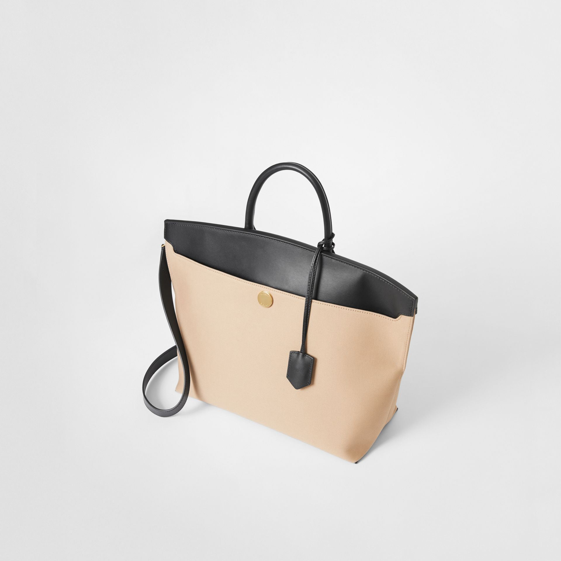 Cotton Canvas and Leather Society Top Handle Bag in Black/honey - Women | Burberry Singapore - gallery image 3