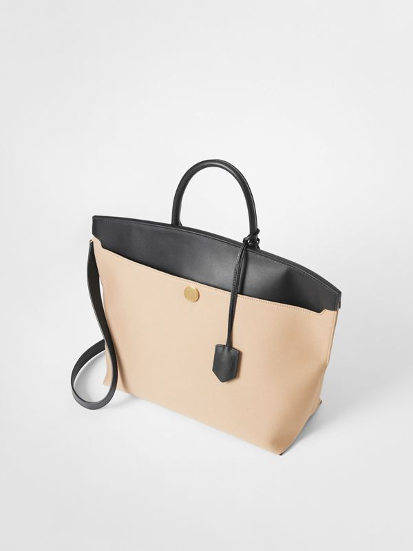 Cotton Canvas and Leather Society Top Handle Bag in Black/honey - Women | Burberry Australia - cell image 3
