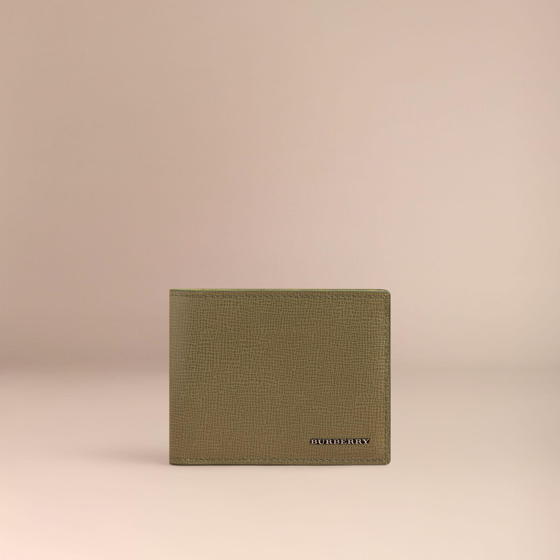 London Leather Slim Folding Wallet in Olive Green | Burberry - gallery image 2