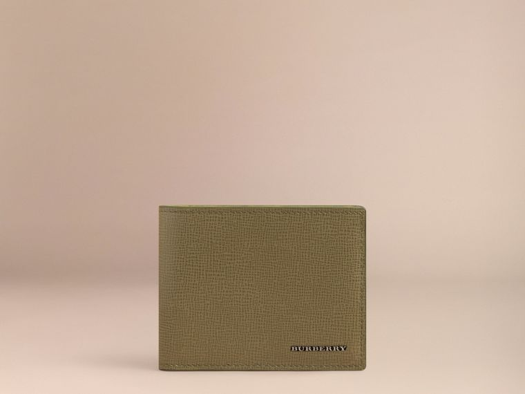 London Leather Slim Folding Wallet in Olive Green | Burberry - cell image 1