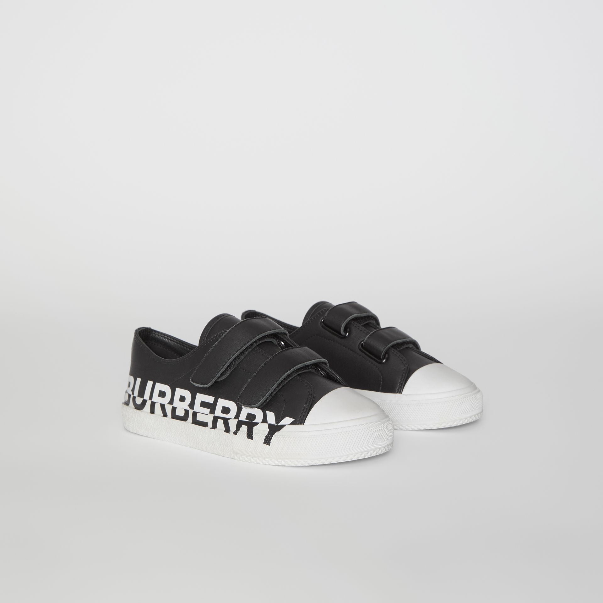 Logo Print Two-tone Leather Sneakers in Black/white - Children | Burberry - gallery image 4
