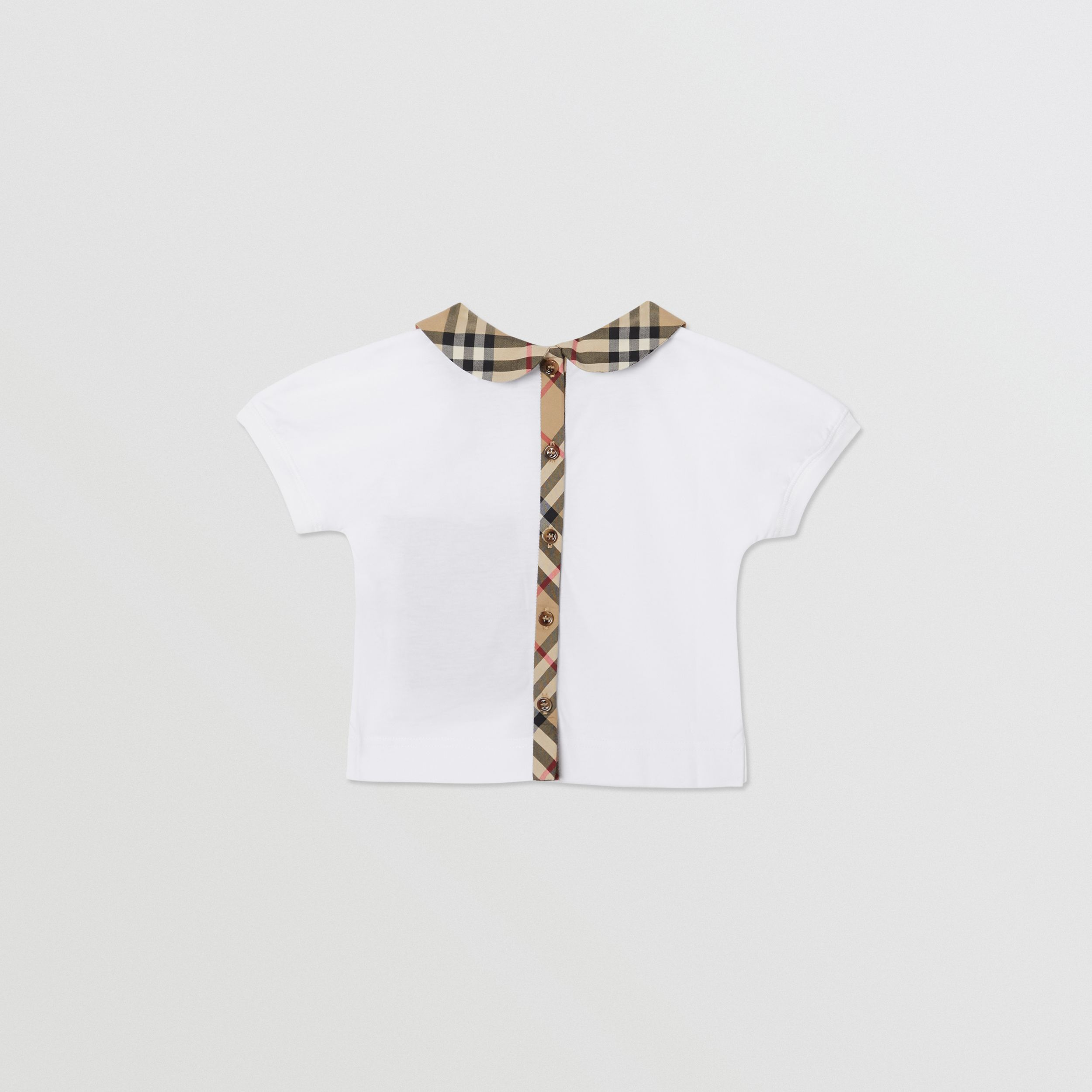 Vintage Check Trim Cotton T-shirt in White - Children | Burberry - 4