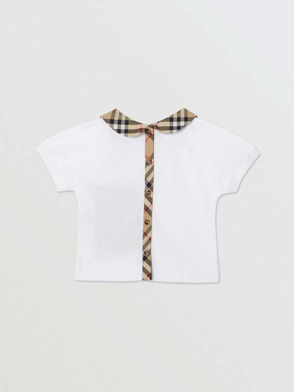 Vintage Check Trim Cotton T-shirt in White - Children | Burberry - cell image 3