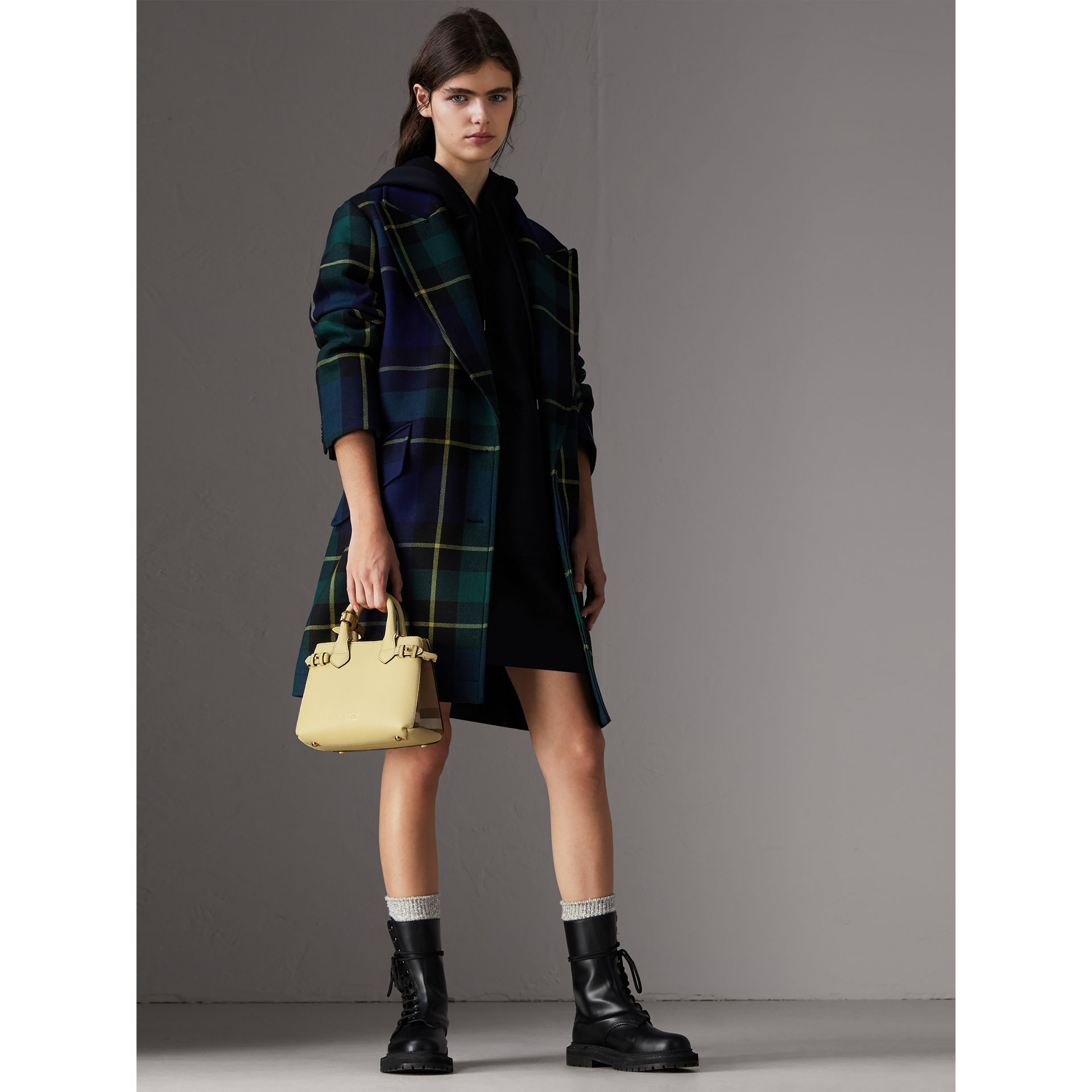 The Baby Banner in Leather and House Check in Camomile Yellow - Women | Burberry Australia - gallery image 2