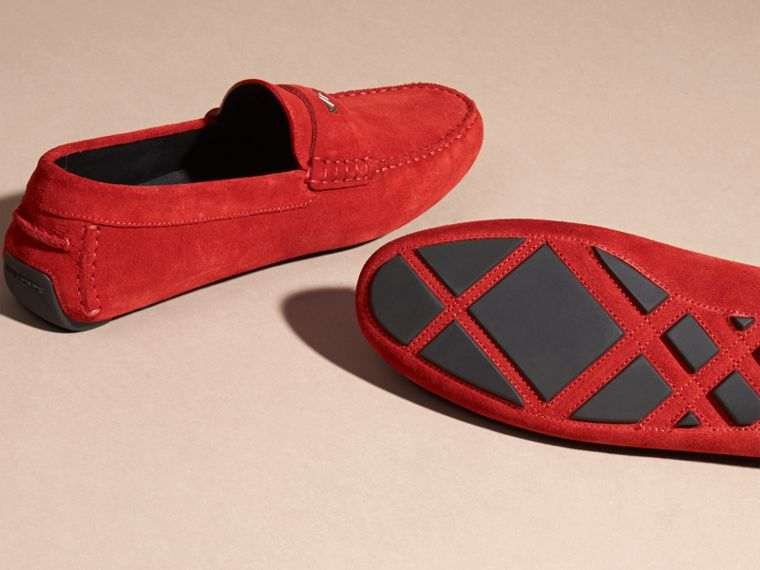 Suede Loafers with Engraved Check Detail in Bright Rowenberry - cell image 4