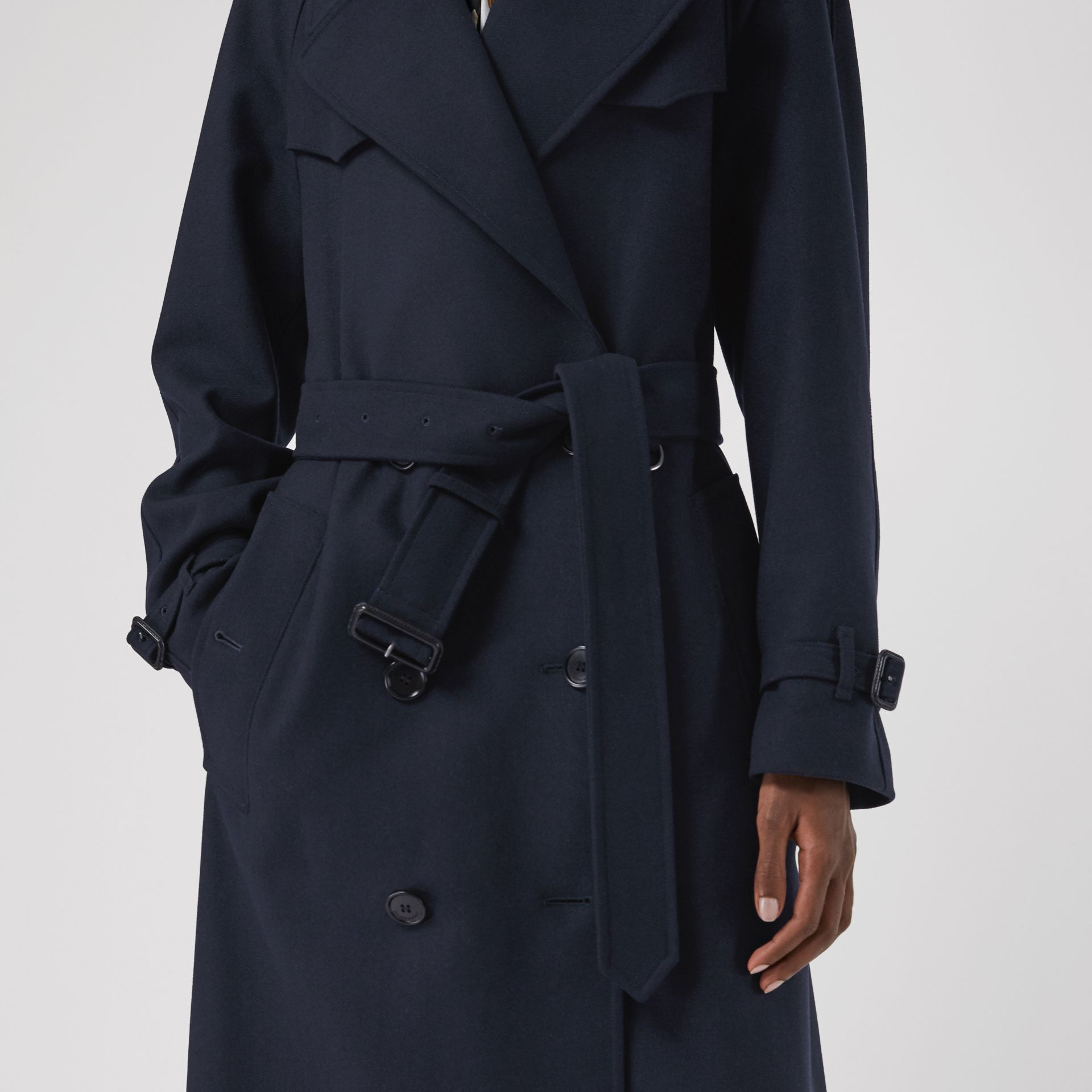 Herringbone Wool Blend Trench Coat in Navy - Women | Burberry - gallery image 4