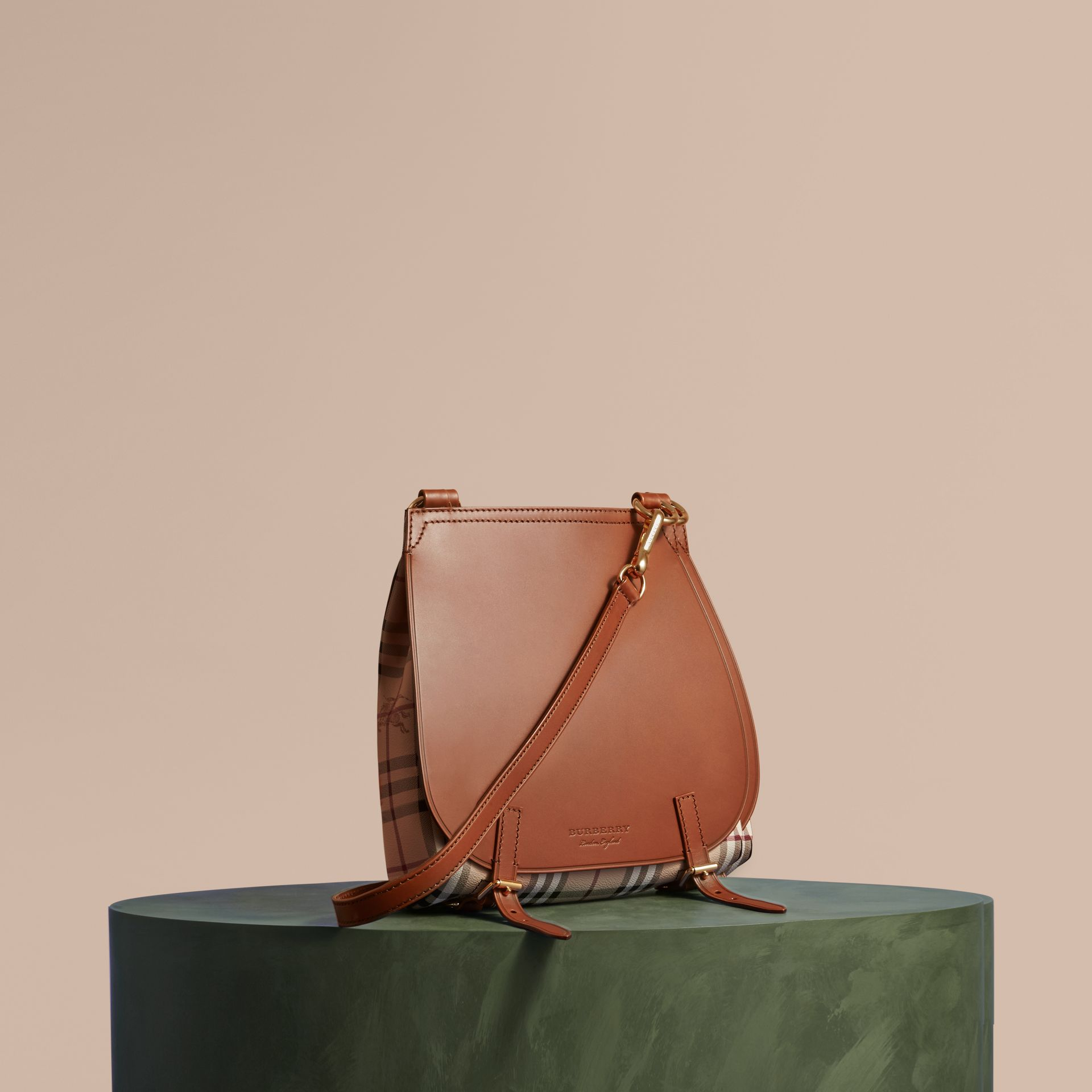 The Small Bridle Bag in Leather and Haymarket Check Tan - gallery image 1