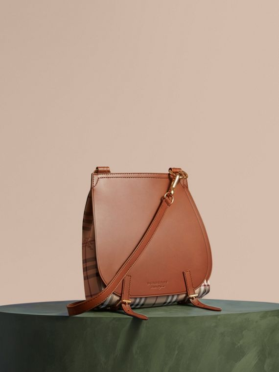 The Small Bridle Bag in Leather and Haymarket Check Tan