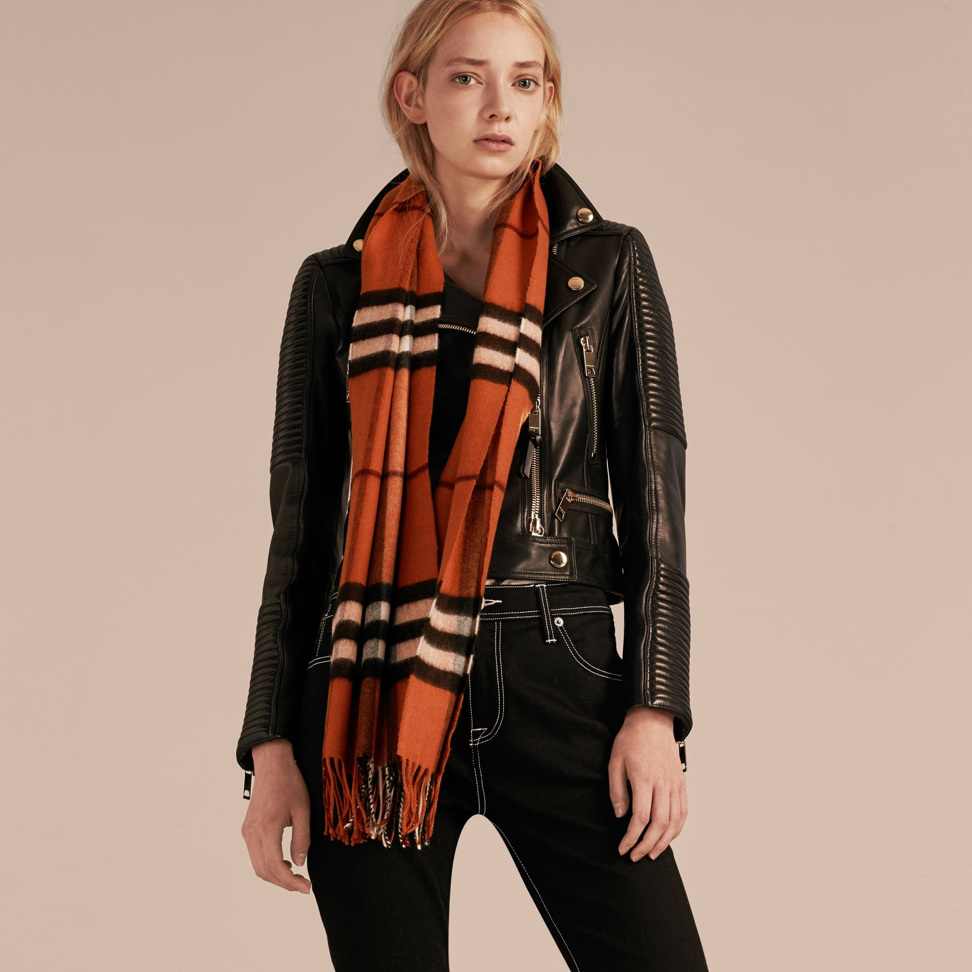 The Classic Cashmere Scarf in Check Burnt Orange - gallery image 3