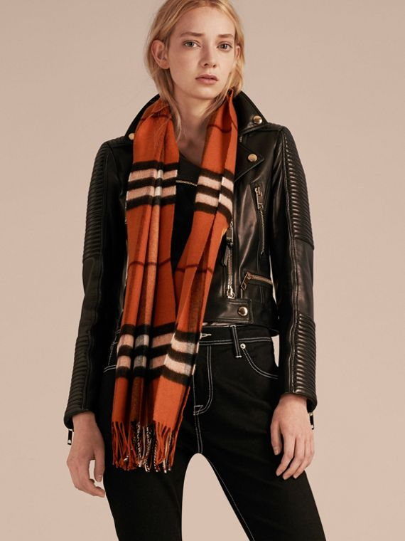 The Classic Cashmere Scarf in Check in Burnt Orange - cell image 2