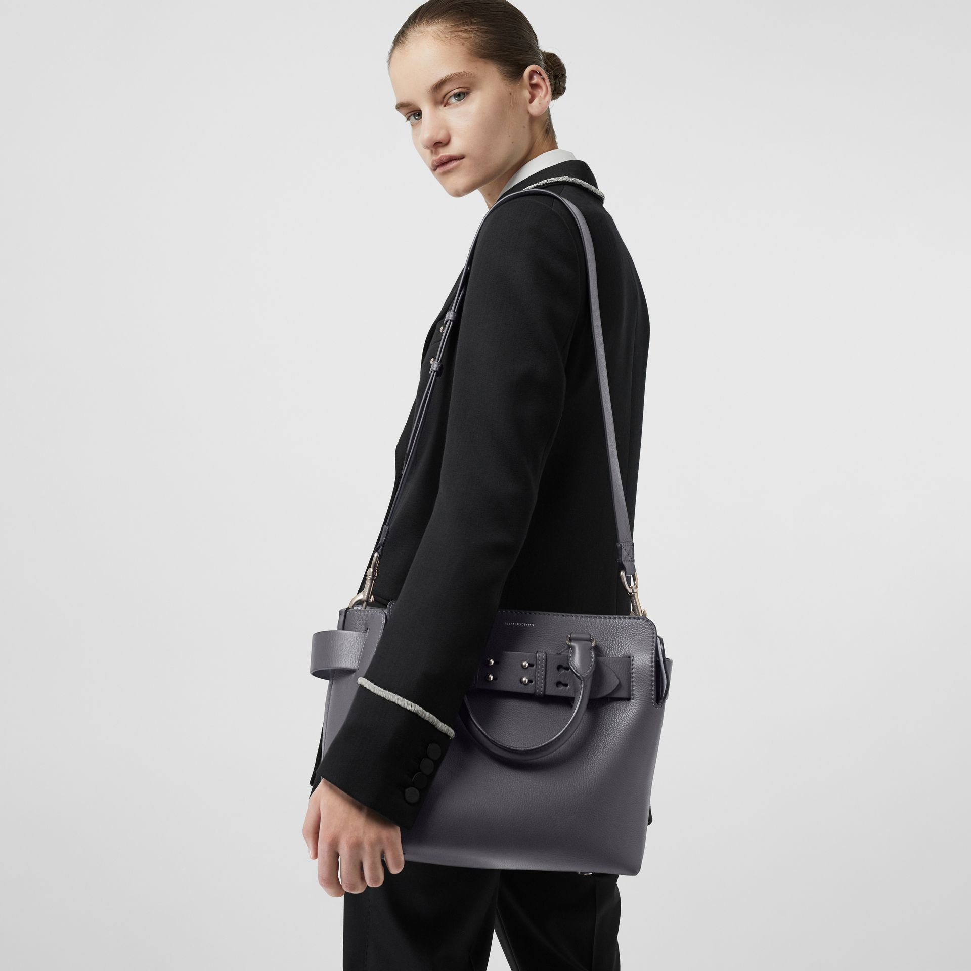 The Small Leather Belt Bag in Charcoal Grey - Women | Burberry Singapore - gallery image 2