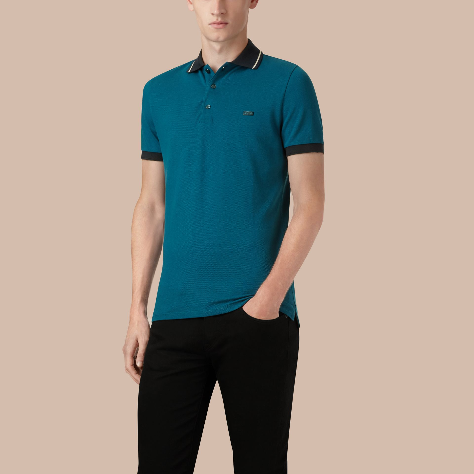 Mineral blue/stone Contrast Trim Cotton Piqué Polo Shirt Mineral Blue/stone - gallery image 1