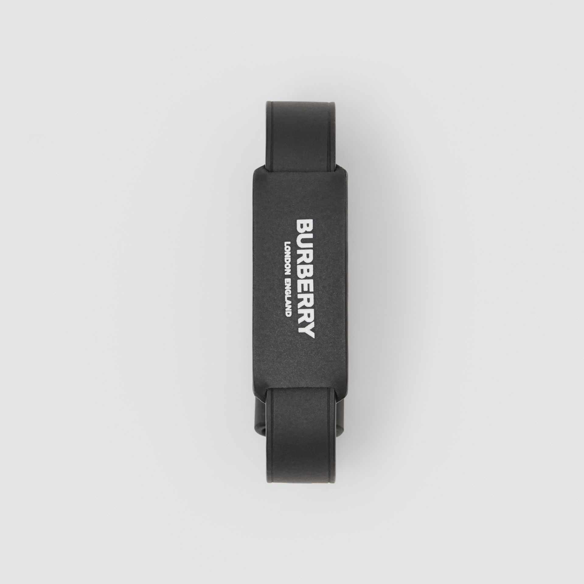 Logo Print Leather Bracelet in Black - Men | Burberry - gallery image 0