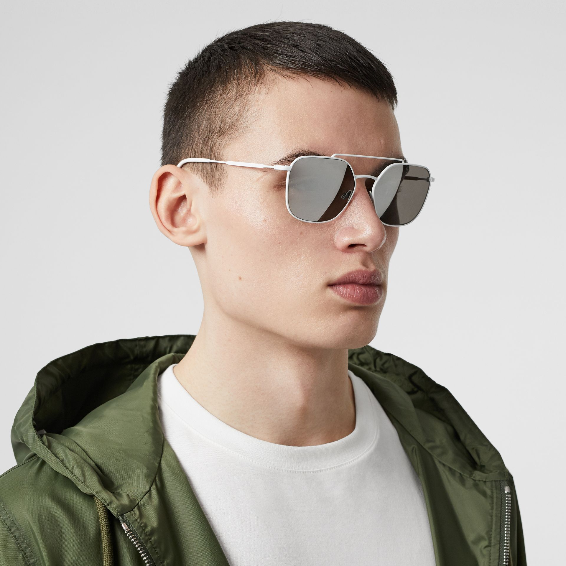 Top Bar Detail Square Pilot Sunglasses in Matt White - Men | Burberry - gallery image 2
