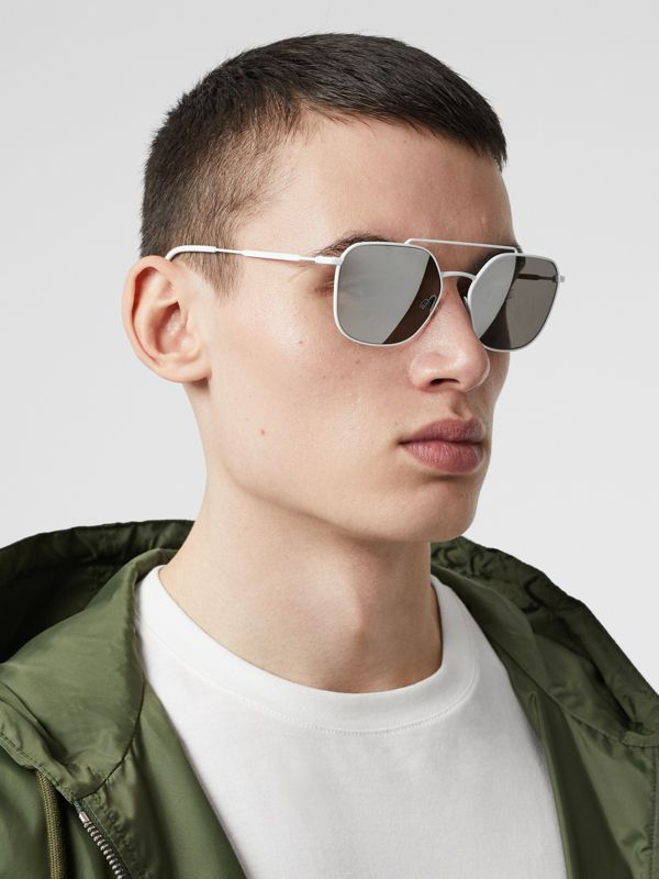 Top Bar Detail Square Pilot Sunglasses in Matt White - Men | Burberry - cell image 2