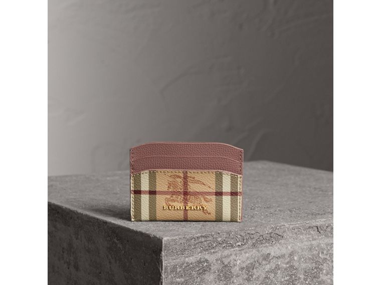 Haymarket Check and Leather Card Case in Light Elderberry - Women | Burberry - cell image 4