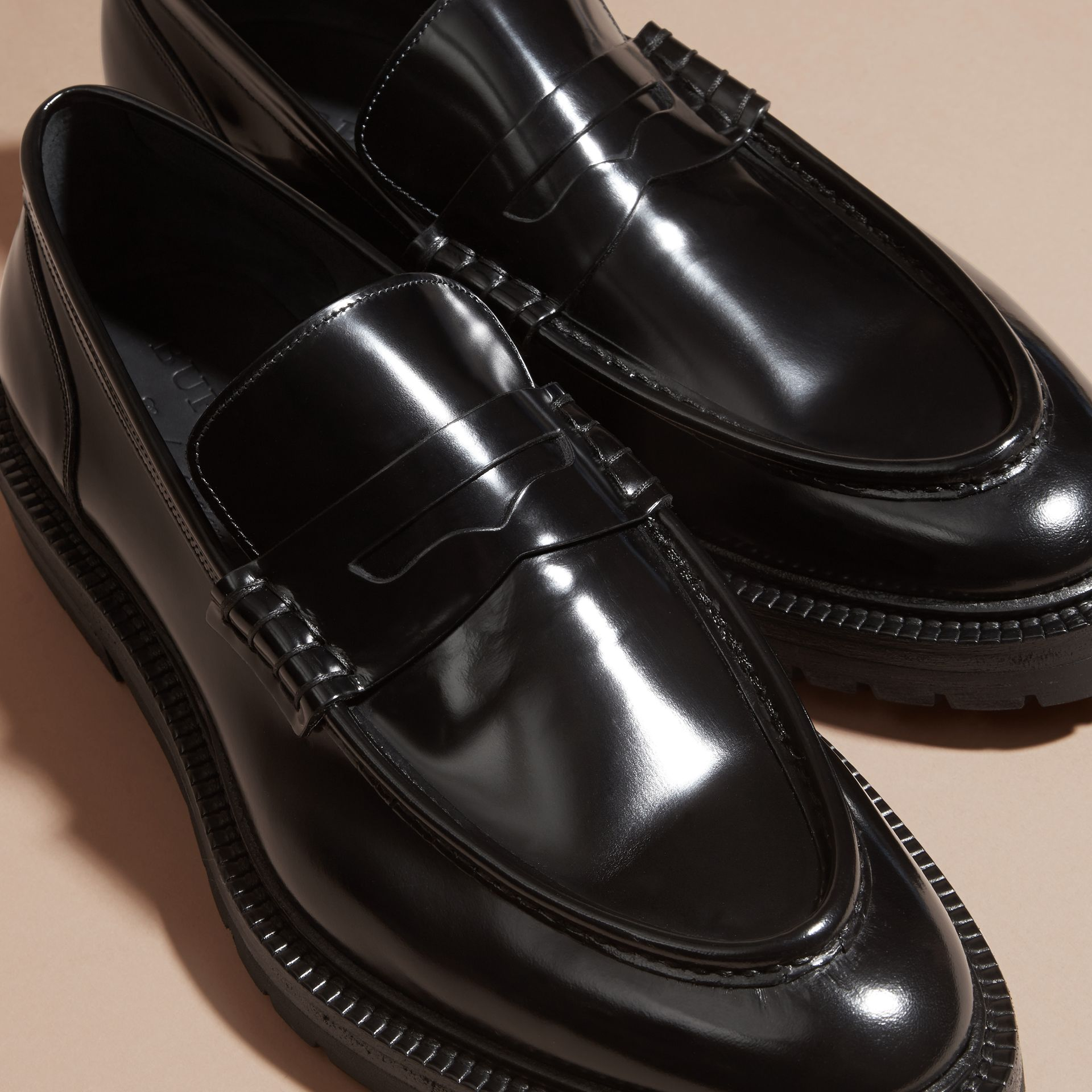 Black Rubber Sole Leather Loafers - gallery image 2