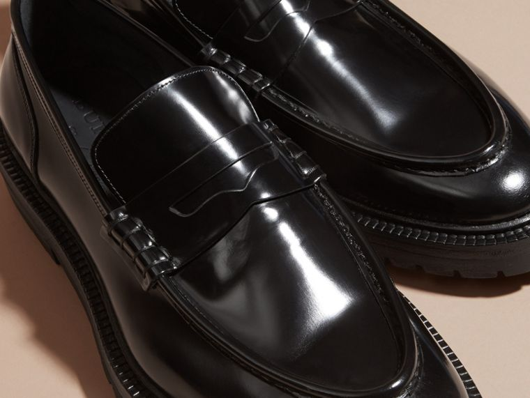 Black Rubber Sole Leather Loafers - cell image 1
