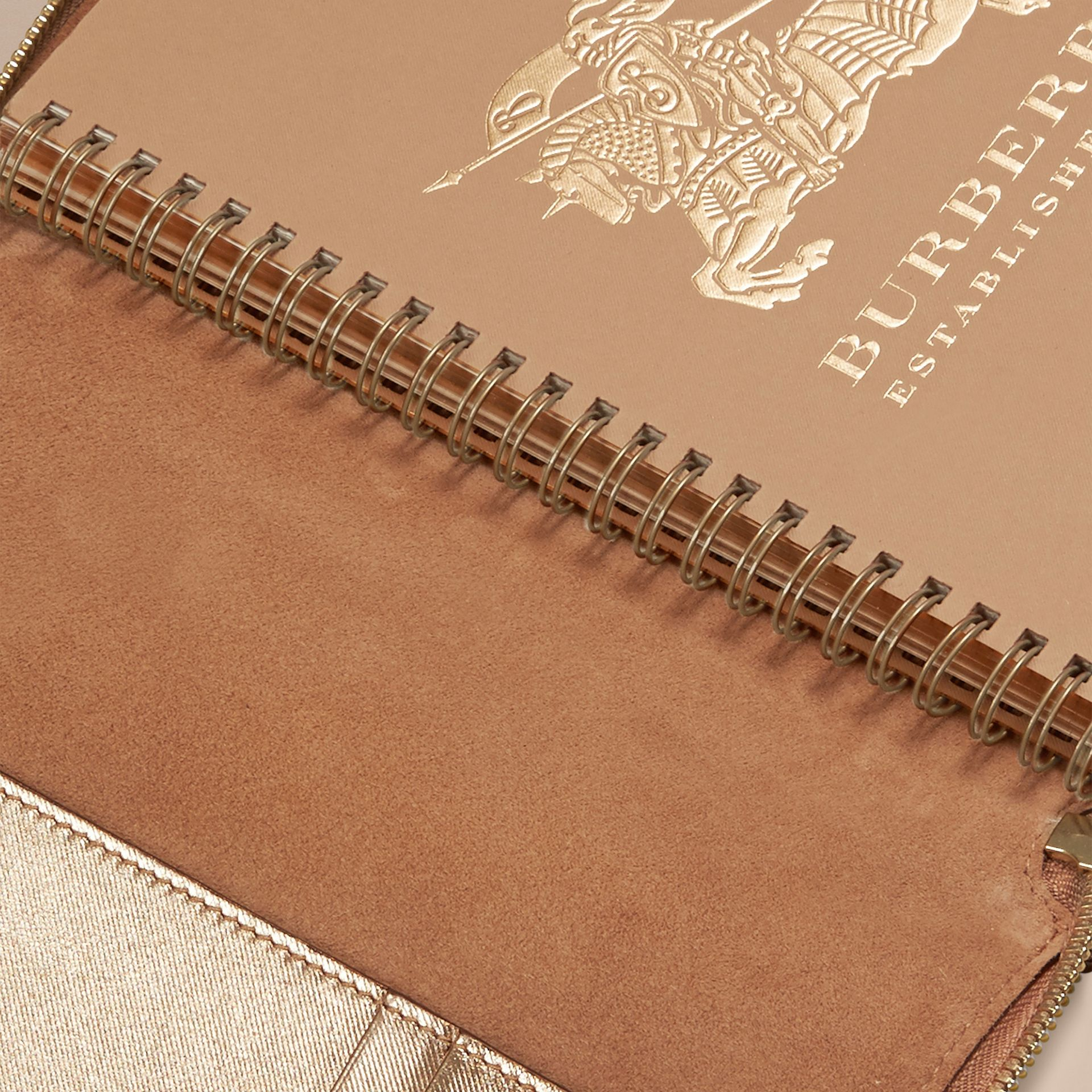 Gold Ziparound Check-embossed Metallic Leather A5 Notebook - gallery image 5